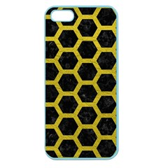 HEXAGON2 BLACK MARBLE & YELLOW LEATHER (R) Apple Seamless iPhone 5 Case (Color)