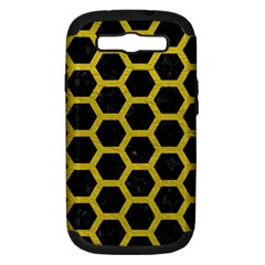 HEXAGON2 BLACK MARBLE & YELLOW LEATHER (R) Samsung Galaxy S III Hardshell Case (PC+Silicone)