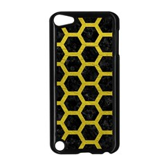HEXAGON2 BLACK MARBLE & YELLOW LEATHER (R) Apple iPod Touch 5 Case (Black)