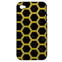 HEXAGON2 BLACK MARBLE & YELLOW LEATHER (R) Apple iPhone 4/4S Hardshell Case (PC+Silicone)