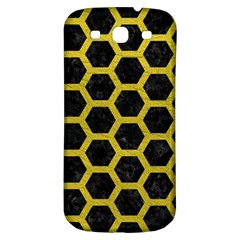 HEXAGON2 BLACK MARBLE & YELLOW LEATHER (R) Samsung Galaxy S3 S III Classic Hardshell Back Case