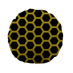 Hexagon2 Black Marble & Yellow Leather (r) Standard 15  Premium Round Cushions by trendistuff