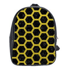 HEXAGON2 BLACK MARBLE & YELLOW LEATHER (R) School Bag (XL)
