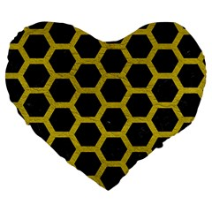 HEXAGON2 BLACK MARBLE & YELLOW LEATHER (R) Large 19  Premium Heart Shape Cushions