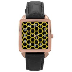 HEXAGON2 BLACK MARBLE & YELLOW LEATHER (R) Rose Gold Leather Watch