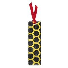 HEXAGON2 BLACK MARBLE & YELLOW LEATHER (R) Small Book Marks
