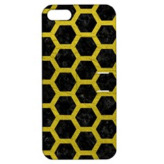 HEXAGON2 BLACK MARBLE & YELLOW LEATHER (R) Apple iPhone 5 Hardshell Case with Stand