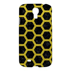 HEXAGON2 BLACK MARBLE & YELLOW LEATHER (R) Samsung Galaxy S4 I9500/I9505 Hardshell Case
