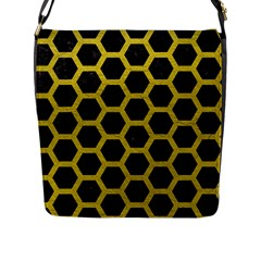 HEXAGON2 BLACK MARBLE & YELLOW LEATHER (R) Flap Messenger Bag (L)