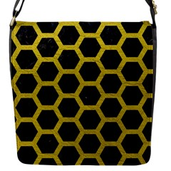 HEXAGON2 BLACK MARBLE & YELLOW LEATHER (R) Flap Messenger Bag (S)