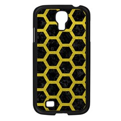 HEXAGON2 BLACK MARBLE & YELLOW LEATHER (R) Samsung Galaxy S4 I9500/ I9505 Case (Black)