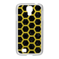 HEXAGON2 BLACK MARBLE & YELLOW LEATHER (R) Samsung GALAXY S4 I9500/ I9505 Case (White)