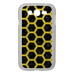 HEXAGON2 BLACK MARBLE & YELLOW LEATHER (R) Samsung Galaxy Grand DUOS I9082 Case (White)