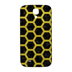 HEXAGON2 BLACK MARBLE & YELLOW LEATHER (R) Samsung Galaxy S4 I9500/I9505  Hardshell Back Case