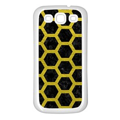 HEXAGON2 BLACK MARBLE & YELLOW LEATHER (R) Samsung Galaxy S3 Back Case (White)