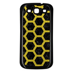 HEXAGON2 BLACK MARBLE & YELLOW LEATHER (R) Samsung Galaxy S3 Back Case (Black)