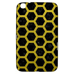 HEXAGON2 BLACK MARBLE & YELLOW LEATHER (R) Samsung Galaxy Tab 3 (8 ) T3100 Hardshell Case
