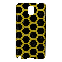 HEXAGON2 BLACK MARBLE & YELLOW LEATHER (R) Samsung Galaxy Note 3 N9005 Hardshell Case