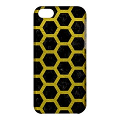 HEXAGON2 BLACK MARBLE & YELLOW LEATHER (R) Apple iPhone 5C Hardshell Case