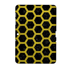 HEXAGON2 BLACK MARBLE & YELLOW LEATHER (R) Samsung Galaxy Tab 2 (10.1 ) P5100 Hardshell Case