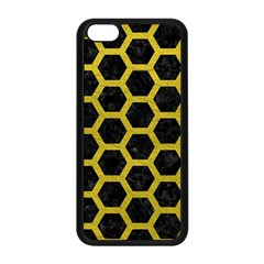 HEXAGON2 BLACK MARBLE & YELLOW LEATHER (R) Apple iPhone 5C Seamless Case (Black)