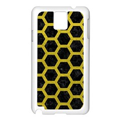 HEXAGON2 BLACK MARBLE & YELLOW LEATHER (R) Samsung Galaxy Note 3 N9005 Case (White)