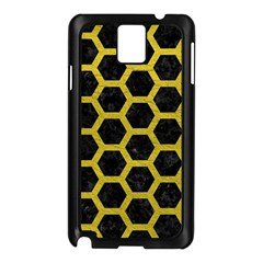 HEXAGON2 BLACK MARBLE & YELLOW LEATHER (R) Samsung Galaxy Note 3 N9005 Case (Black)