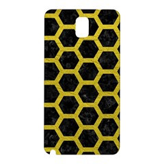 HEXAGON2 BLACK MARBLE & YELLOW LEATHER (R) Samsung Galaxy Note 3 N9005 Hardshell Back Case