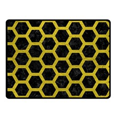 HEXAGON2 BLACK MARBLE & YELLOW LEATHER (R) Double Sided Fleece Blanket (Small)