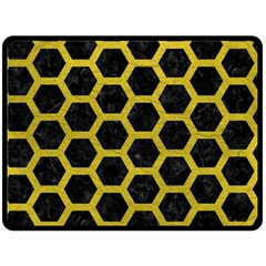 HEXAGON2 BLACK MARBLE & YELLOW LEATHER (R) Double Sided Fleece Blanket (Large)