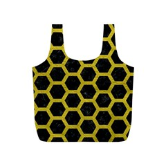 HEXAGON2 BLACK MARBLE & YELLOW LEATHER (R) Full Print Recycle Bags (S)