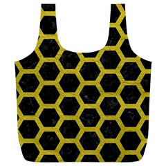 HEXAGON2 BLACK MARBLE & YELLOW LEATHER (R) Full Print Recycle Bags (L)
