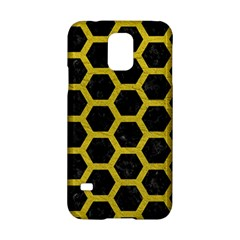 HEXAGON2 BLACK MARBLE & YELLOW LEATHER (R) Samsung Galaxy S5 Hardshell Case