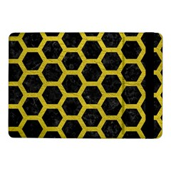 HEXAGON2 BLACK MARBLE & YELLOW LEATHER (R) Samsung Galaxy Tab Pro 10.1  Flip Case