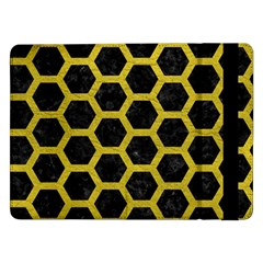 HEXAGON2 BLACK MARBLE & YELLOW LEATHER (R) Samsung Galaxy Tab Pro 12.2  Flip Case