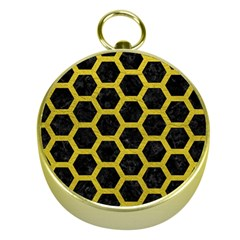 HEXAGON2 BLACK MARBLE & YELLOW LEATHER (R) Gold Compasses