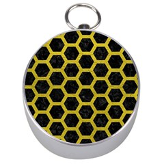 HEXAGON2 BLACK MARBLE & YELLOW LEATHER (R) Silver Compasses