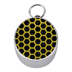 HEXAGON2 BLACK MARBLE & YELLOW LEATHER (R) Mini Silver Compasses