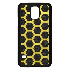 HEXAGON2 BLACK MARBLE & YELLOW LEATHER (R) Samsung Galaxy S5 Case (Black)