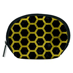 HEXAGON2 BLACK MARBLE & YELLOW LEATHER (R) Accessory Pouches (Medium)