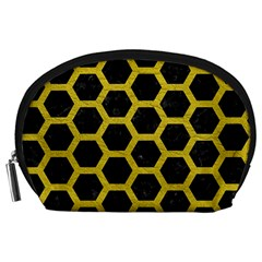 HEXAGON2 BLACK MARBLE & YELLOW LEATHER (R) Accessory Pouches (Large)