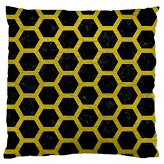 HEXAGON2 BLACK MARBLE & YELLOW LEATHER (R) Large Flano Cushion Case (One Side)