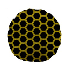 Hexagon2 Black Marble & Yellow Leather (r) Standard 15  Premium Flano Round Cushions by trendistuff