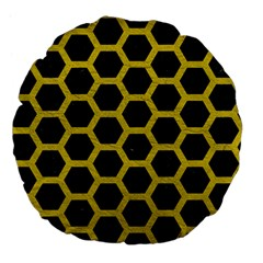 Hexagon2 Black Marble & Yellow Leather (r) Large 18  Premium Flano Round Cushions by trendistuff