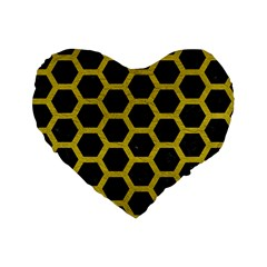 HEXAGON2 BLACK MARBLE & YELLOW LEATHER (R) Standard 16  Premium Flano Heart Shape Cushions