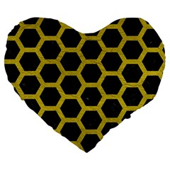 HEXAGON2 BLACK MARBLE & YELLOW LEATHER (R) Large 19  Premium Flano Heart Shape Cushions