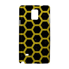 HEXAGON2 BLACK MARBLE & YELLOW LEATHER (R) Samsung Galaxy Note 4 Hardshell Case