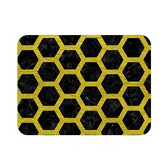 HEXAGON2 BLACK MARBLE & YELLOW LEATHER (R) Double Sided Flano Blanket (Mini)