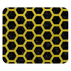 HEXAGON2 BLACK MARBLE & YELLOW LEATHER (R) Double Sided Flano Blanket (Small)