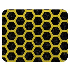 HEXAGON2 BLACK MARBLE & YELLOW LEATHER (R) Double Sided Flano Blanket (Medium)